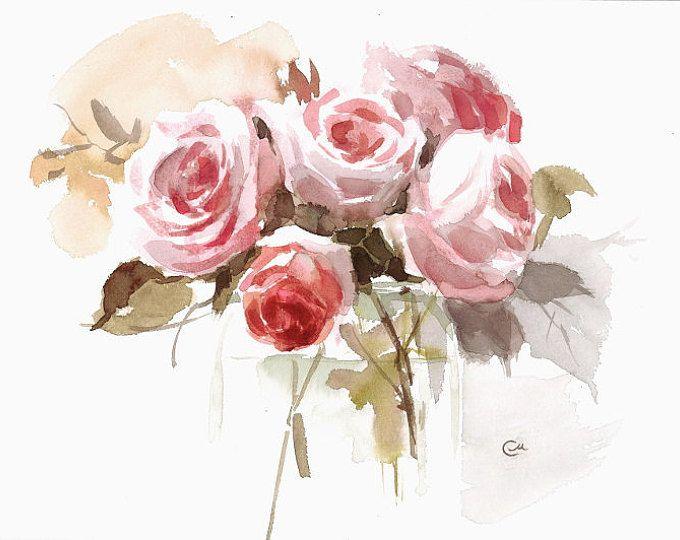Aquarelle Roses Jour 9 Original Peinture Fleurs De Fete Des Meres