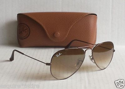Ray Ban aviator style sunglasses RB3025 brown leather carry case