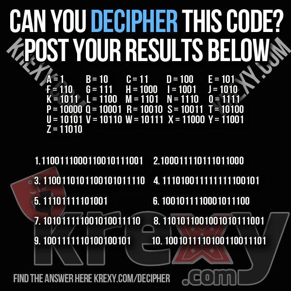 Decipher This Code Game Brain Teaser Krexy Living Brain Teasers Math Brainteasers Brain Busters