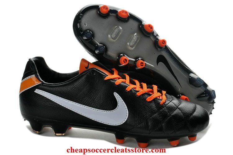 185259a6c Nike Tiempo Legend IV FG TPU Kangaroo Leather Cleats For Cheap Black White  Orange Soccer Cleats