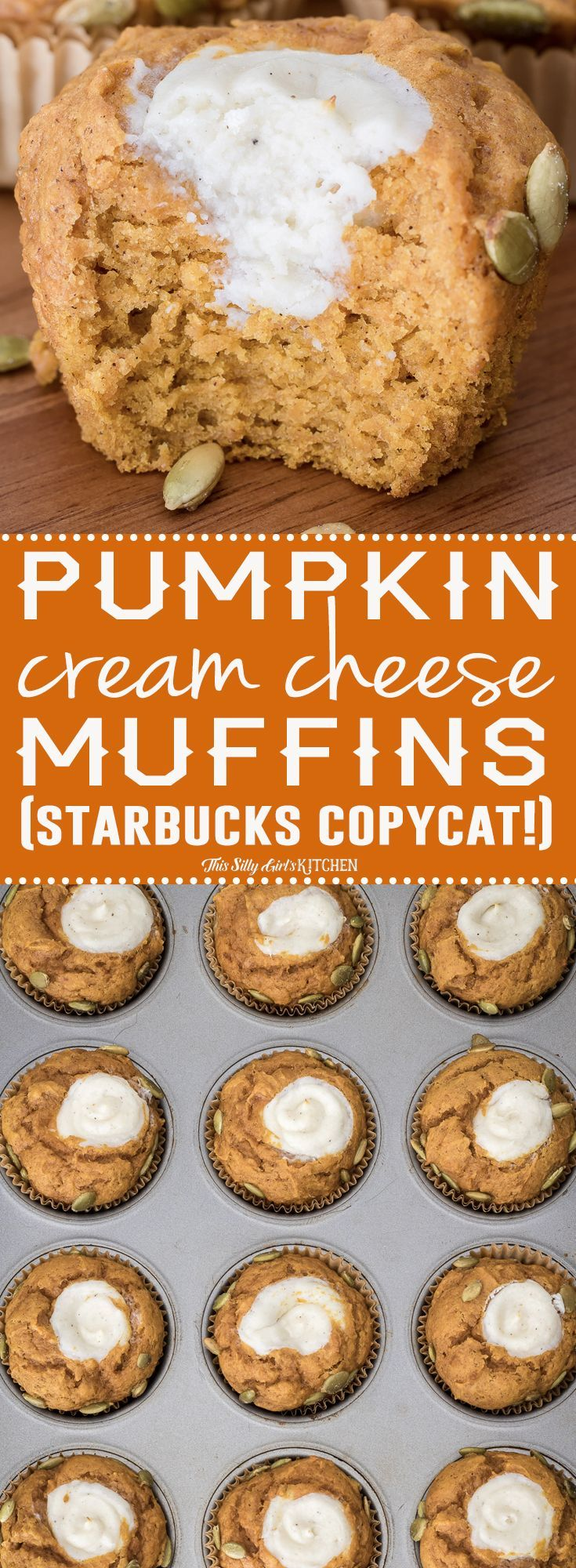 Pumpkin Cream Cheese Muffins (Starbucks Copycat!) #pumpkinmuffins