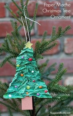 Homemade Christmas Tree Ornament Using Newspaper And Flour Buggy And Buddy Christmas Ornaments Homemade Kids Christmas Ornaments Christmas Tree Ornament Crafts