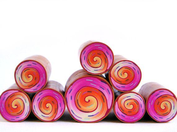 Polymer clay millefiori cane   Orange and Pink