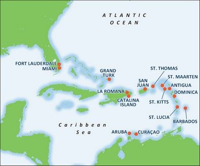 Cruising Southern Caribbean Islands Out Of Puerto Rico Amazing - Southern caribbean map