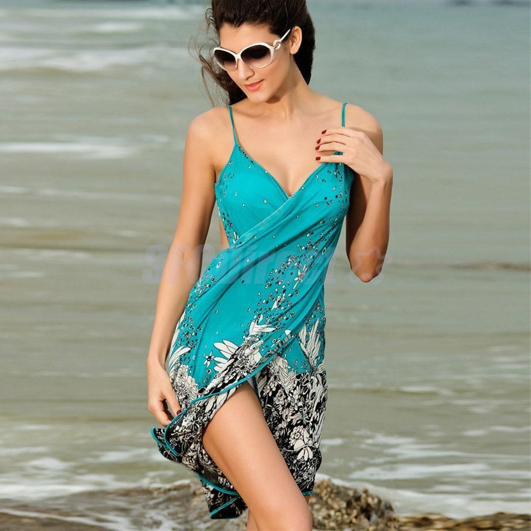 Details about Women Summer Flower Print Evening Party Long Dress V ...