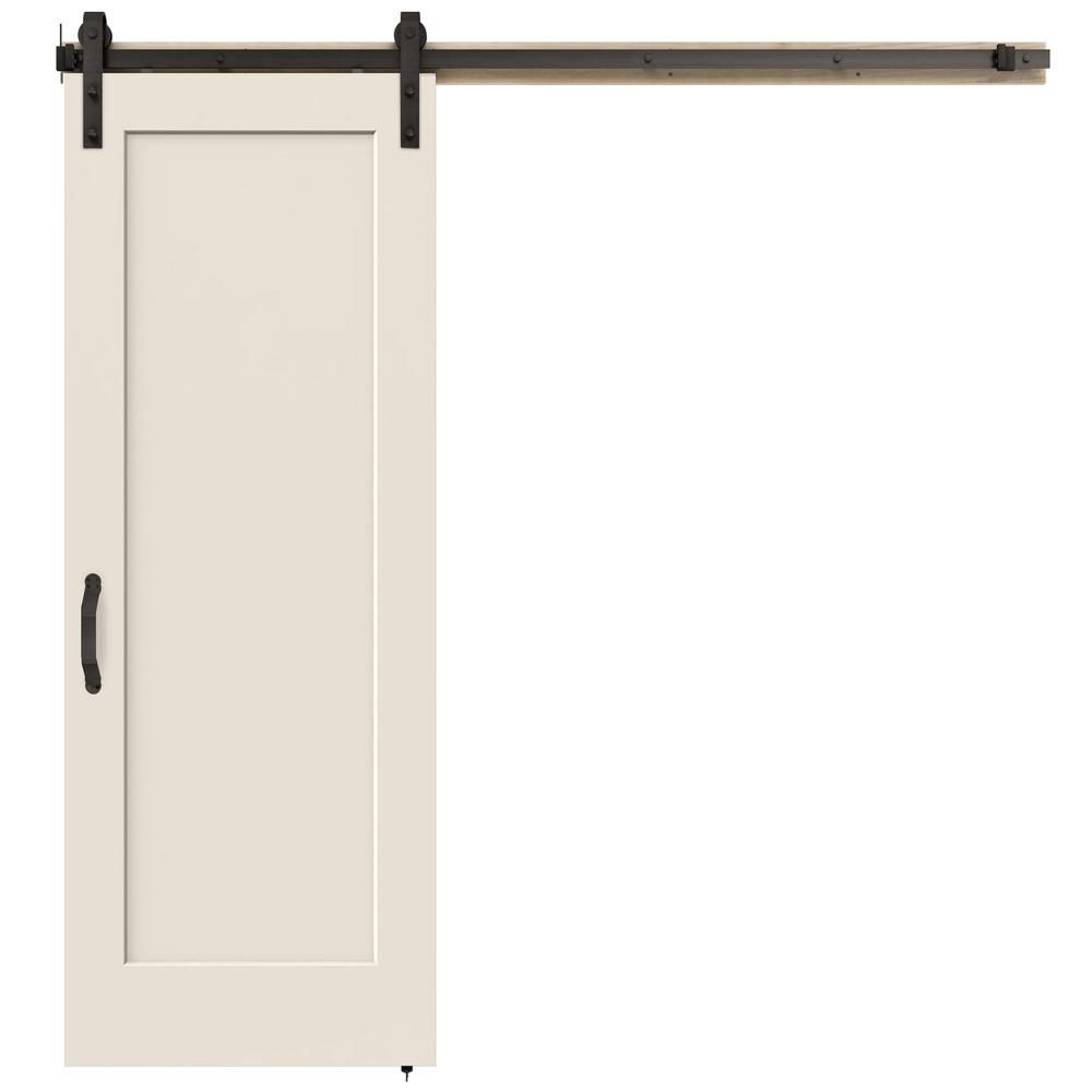Jeld Wen 30 In X 84 In Madison Primed Smooth Molded Composite Mdf Barn Door With Rustic Hardware Thdjw191200667 The Home Depot Rustic Hardware Interior Sliding Barn Doors Barn Doors Sliding