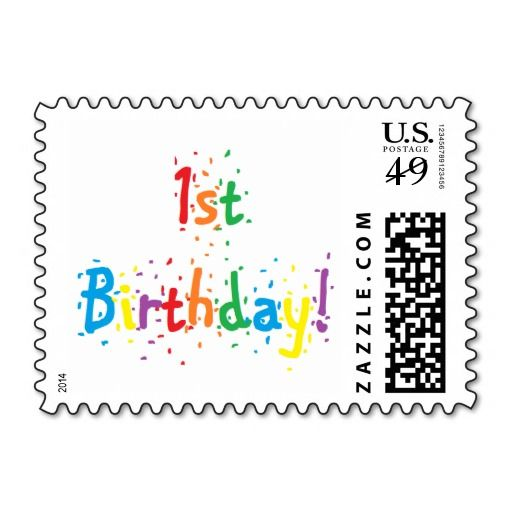 """""""1st Birthday"""" Postage Stamps"""