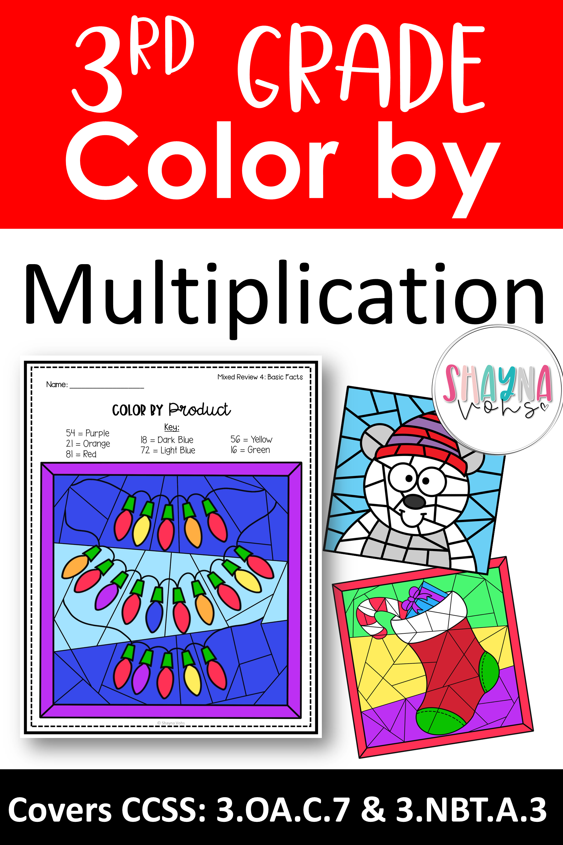 - Christmas Color By Number Multiplication Christmas Math