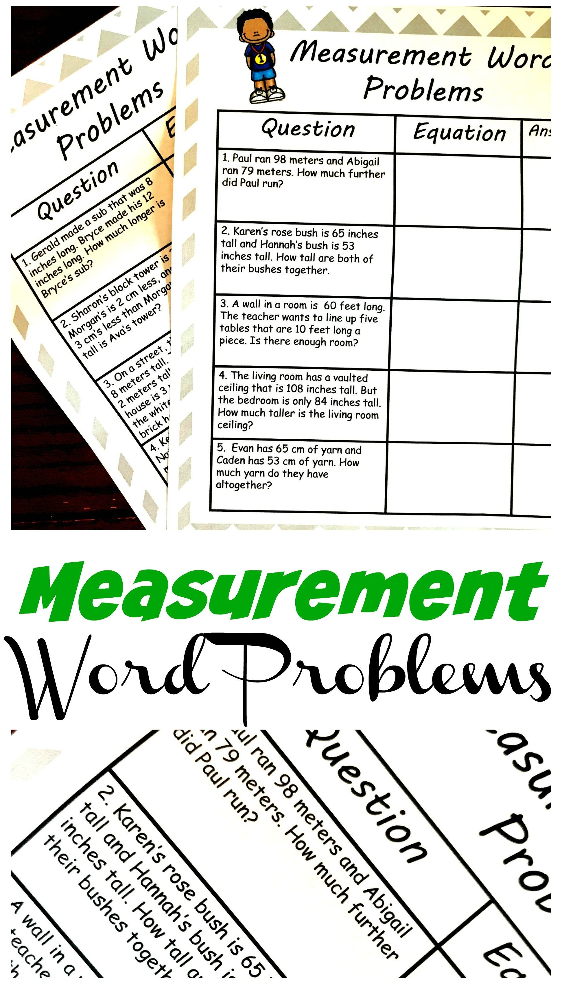 Two Simple Measurement Word Problems Worksheets Adding And