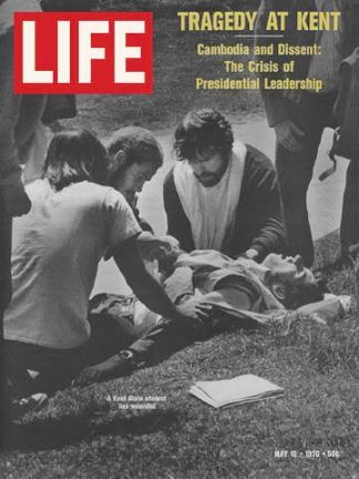 Life magazine of May 15, 1970 showing one of the Kent State University students who was shot by National Guardsman during a time of unrest over the Vietnam War.