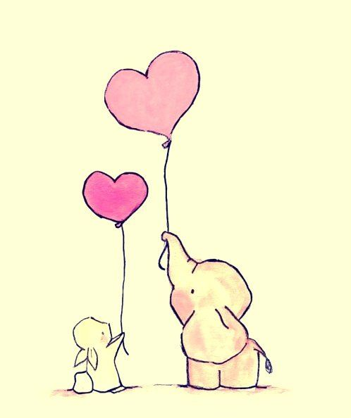 animals balloon cute drawing elephant heart pink