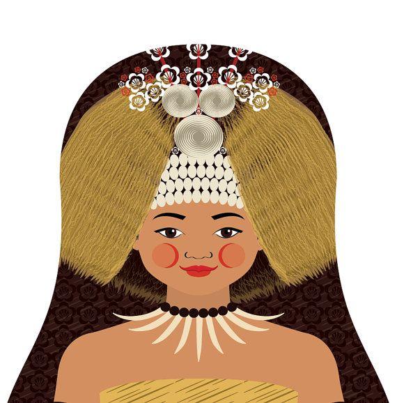 Samoan Girl Matryoshka Art Print Kids Wall Art Kids Art Prints Art Wall Kids Close Up Art