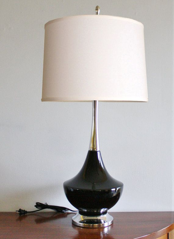 Tall Mid Century Modern Black Ceramic Table Lamp Vintage