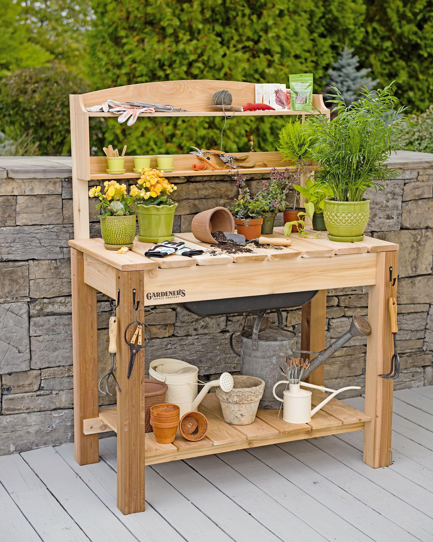 Versatile Cedar Potting Bench with Shelves for