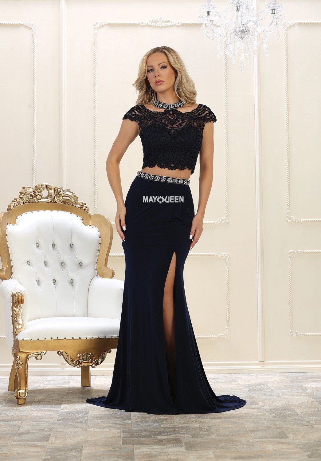 Mq twopiece jersey skirt with slit u crop lace off the