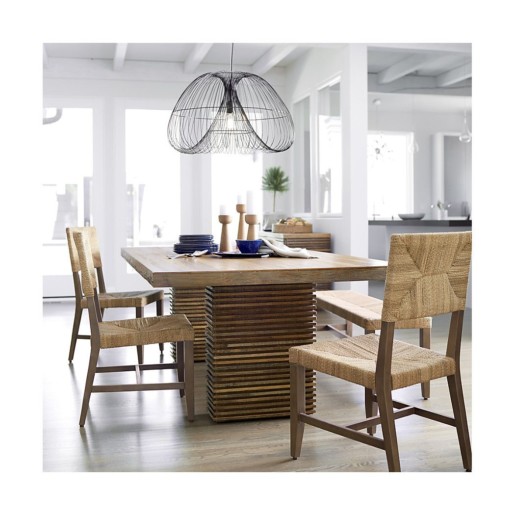Shop paloma ii reclaimed wood dining table the tables striking base is hand assembled in a horizontal prairie style continuum displaying a beautiful