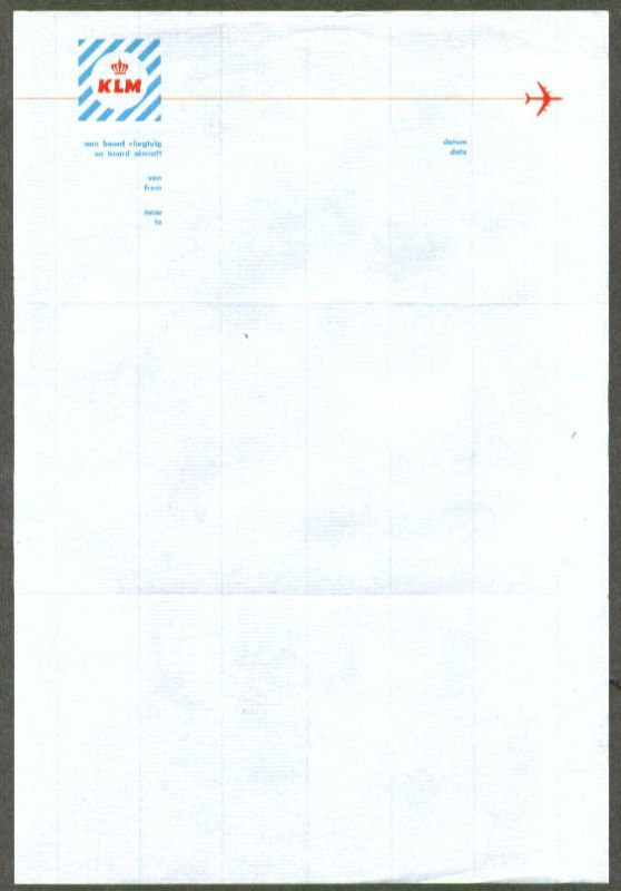 KLM Royal Dutch Airlines Inflight Letterhead S Thulam - Invoice klm
