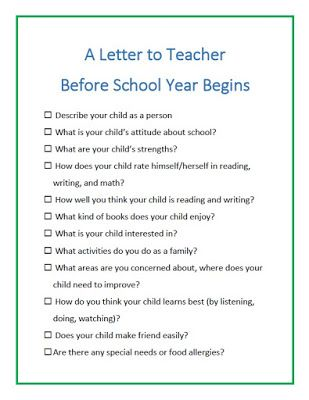Back To School Activity Write A Letter To Teacher  Kids Writing