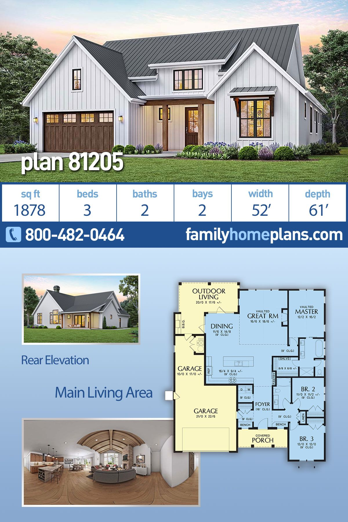 Farmhouse Style House Plan 81205 With 3 Bed 2 Bath 2 Car Garage Modern Style House Plans Country House Design Farmhouse Style House