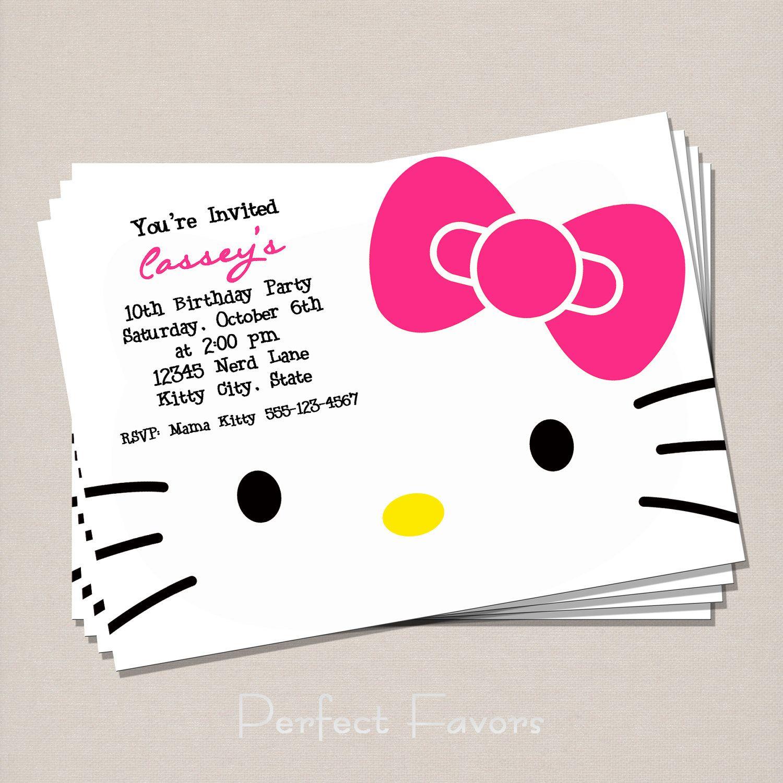Hello Kitty Invitation 500 via Etsy – Hello Kitty Birthday Party Ideas Invitations