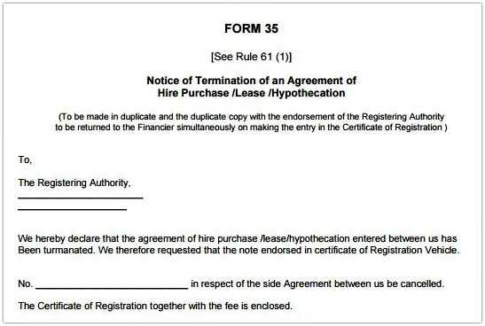 Rto Form Template Sample Termination Agreement Hire Purchase