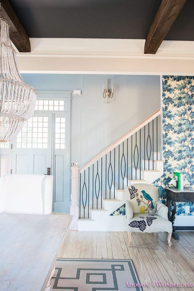 Our Powder Blue Foyer Update Home Living Room Photos