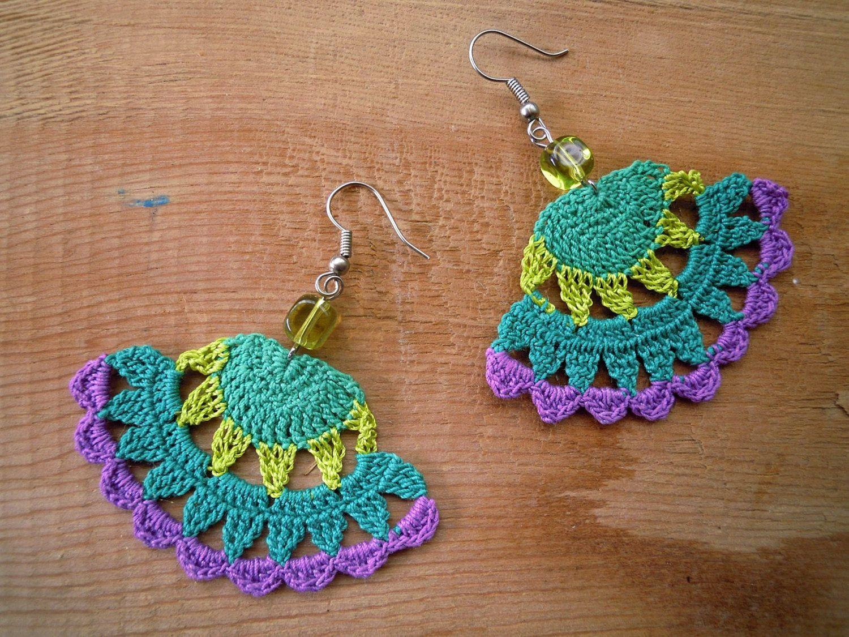 Crochet earrings, fanshaped, green, lime, purple