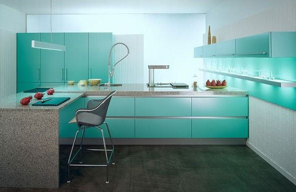 Cocina turquesa   blogs de línea 3 cocinas, diseño de cocinas en ...