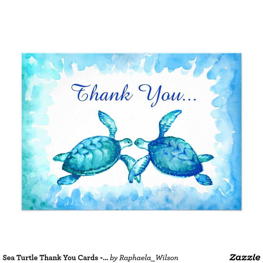 Sea Turtle Wedding Invitations: Sea Turtle Thank You Cards - Blue Teal Watercolor