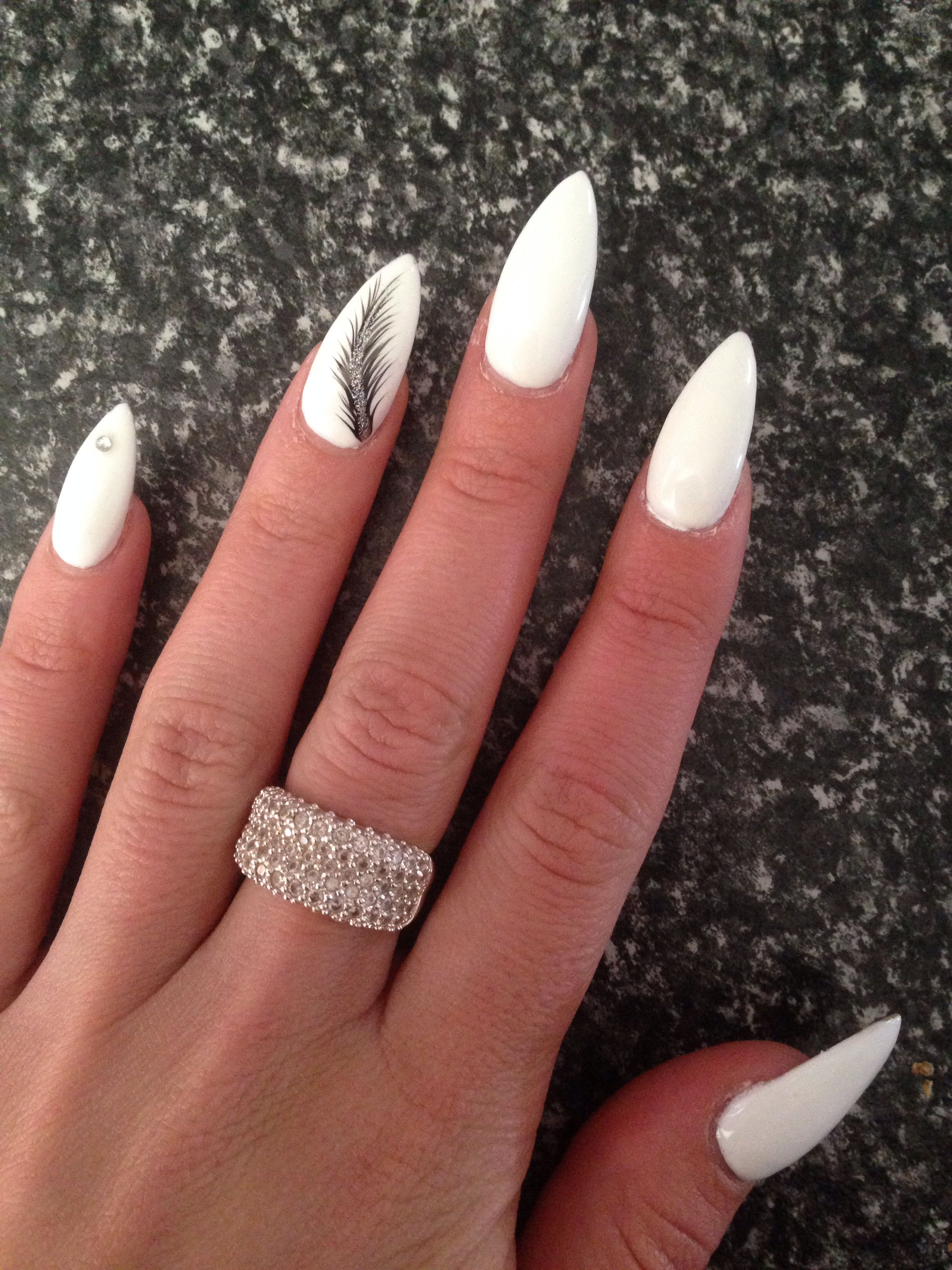 Almond nails white | Nails | Pinterest | Almond nails, Almonds and ...