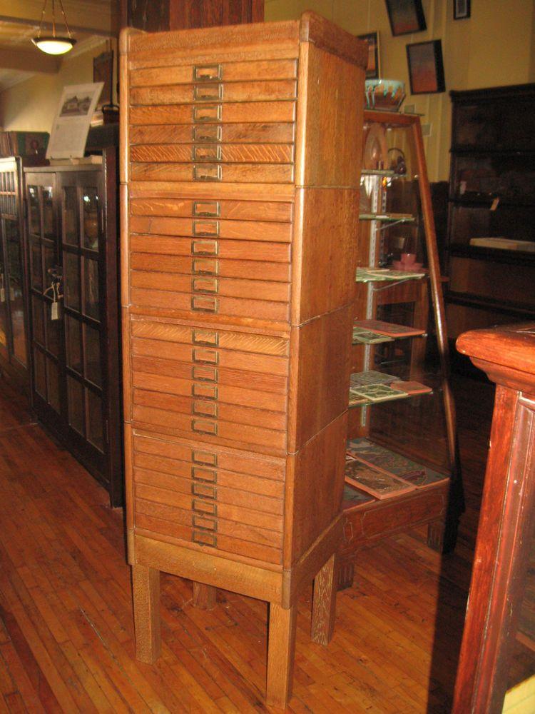 Antique Flat File Cabinet 24 Drawer Quartered Oak 1910's Stacking Unit - Antique Flat File Cabinet 24 Drawer Quartered Oak 1910's Stacking