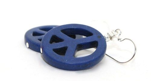 1.75 in long Navy Blue Magnesite and Bali Silver Peace Sign Drop Earrings | AyaDesigns - Jewelry on ArtFire