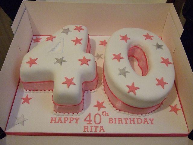 Pink Silver 40th Birthday Cake