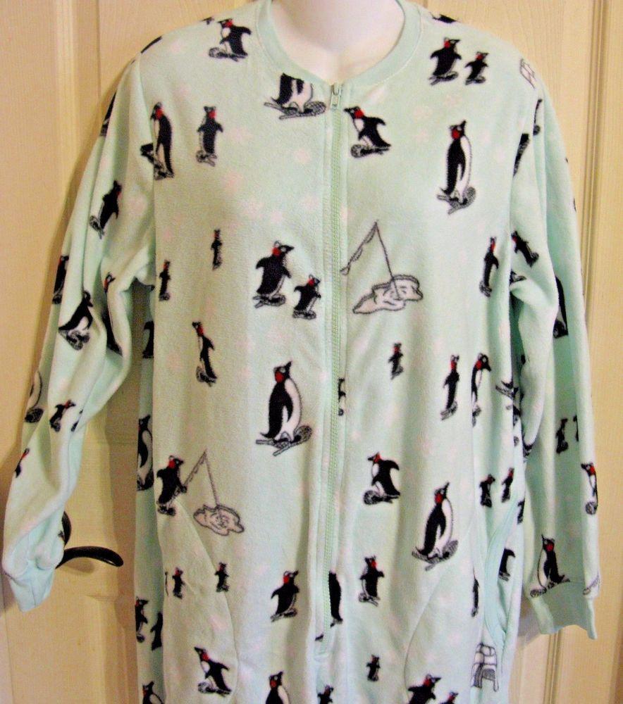 Nick and Nora Fuzzy Penguin Zip Pajamas M Baked Alaska Mint Green Fleece  Igloo  NickNora 6b9233483