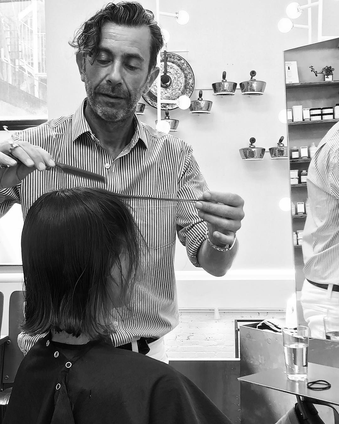 Hairstylist #LeonardoManetti #BTS at #IonStudio, #NYC. #TWGartists