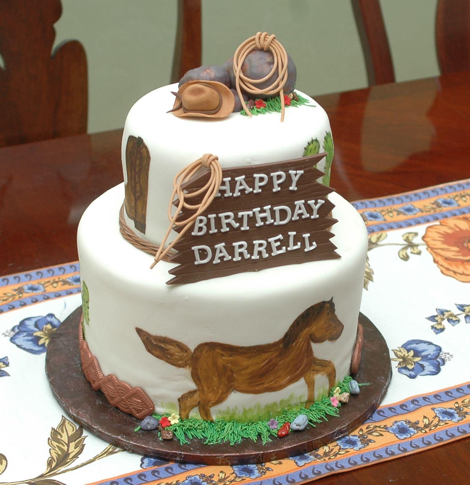 Enjoyable Cowboy Cake Cowboy Cakes Cake Decorating Cake Personalised Birthday Cards Cominlily Jamesorg