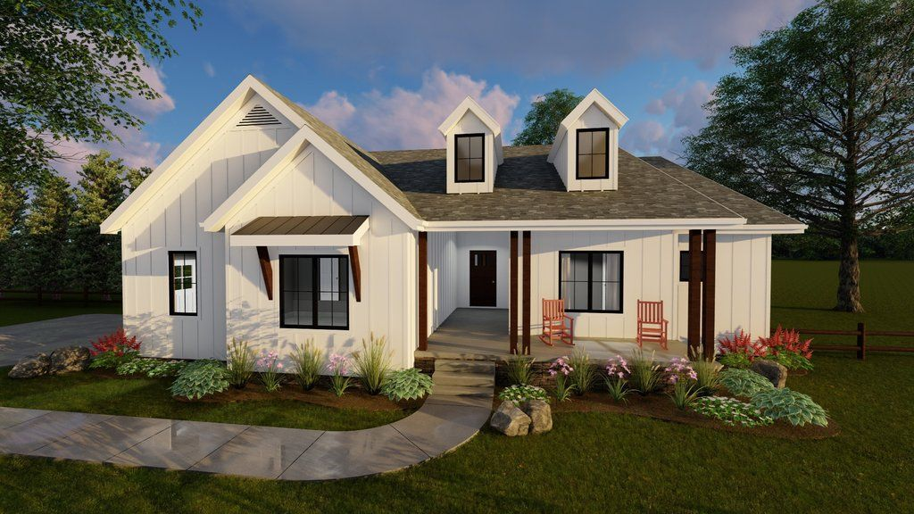 1 Story Modern Farmhouse House Plan Copperden Modern Farmhouse Plans Ranch House Plans Modern Farmhouse Floorplan