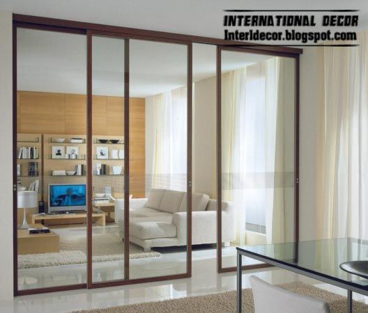 Modern sliding glass door with aluminum frames parlor for Types of glass used in interior