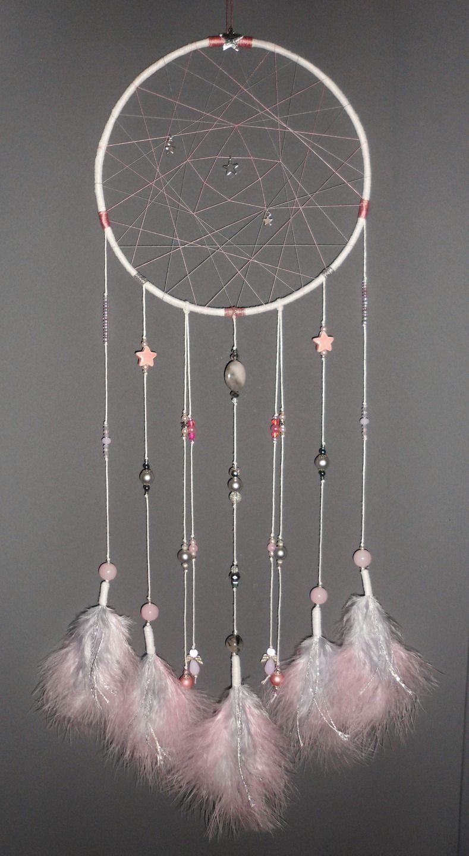 Souvent Attrape-rêves rose et gris, thème étoiles, dreamcatcher, bijou d  XU37