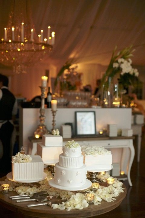 Sophisticated Golden Themed Cake Station