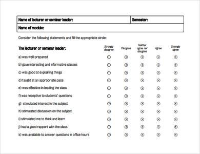 Student Evaluation Form Sample Pdf 7 Free Student Evaluation