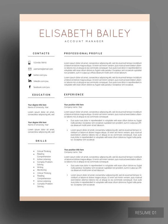 Resume Cv Maker Resume Template Resume Design Cv Template Etsy Cover Letter For Resume Job Resume Resume Examples