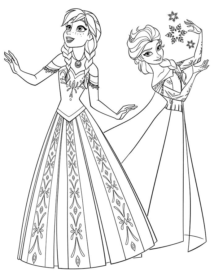 Frozen Elsa und Anna Ausmalbilder - Kids-AusmalbilderTV