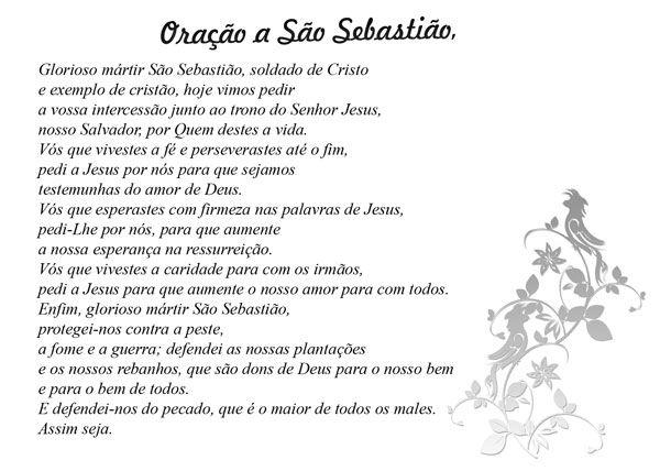 Famosos Oração de São Sebastião   Orações   Pinterest   Oração de são  QA23