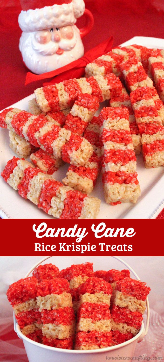 candy cane rice krispie treats two sisters crafting blog pinterest christmas desserts christmas treats and treats - Rice Krispie Christmas