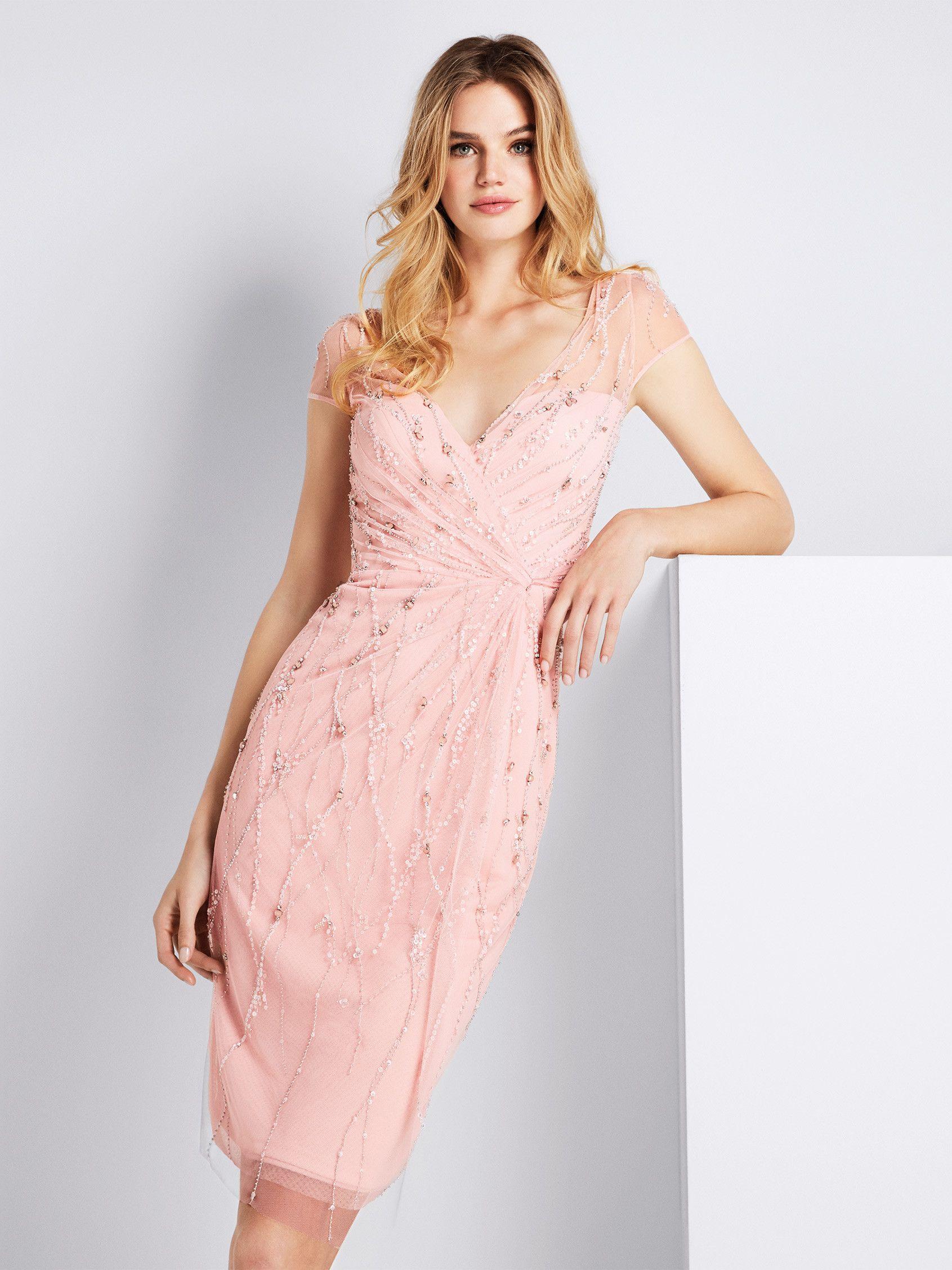 Comprar vestido de fiesta rosa con mangas decoradas | Gilda ...