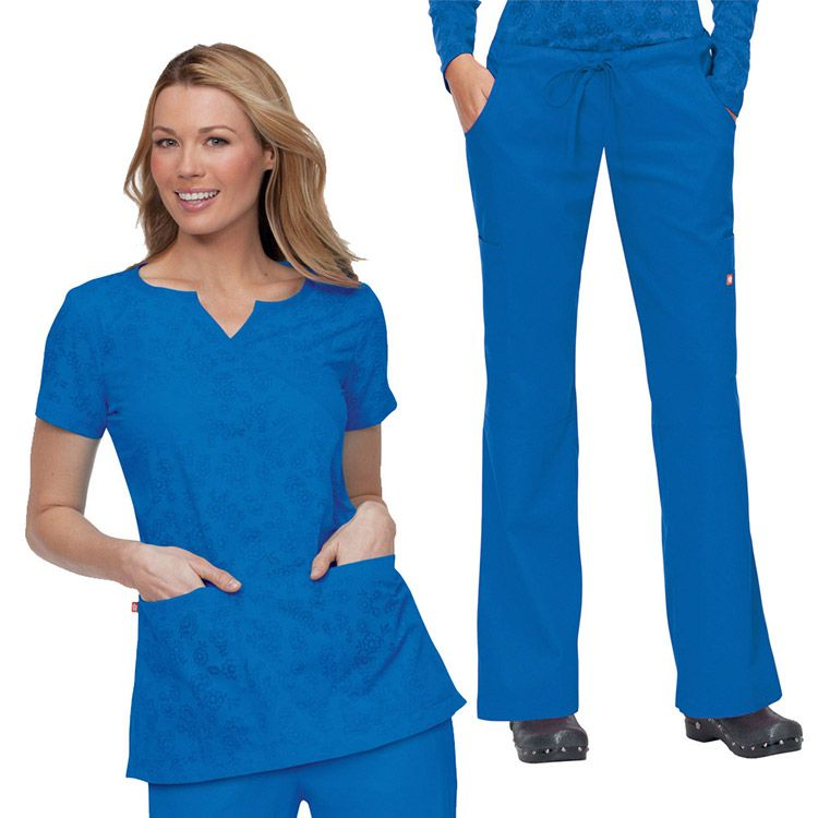 We love the burnout fabric design on this fashionable scrub set from Orange Standard! #scrubs
