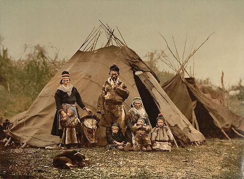 A Sami (Lapp) family in Norway around 1900