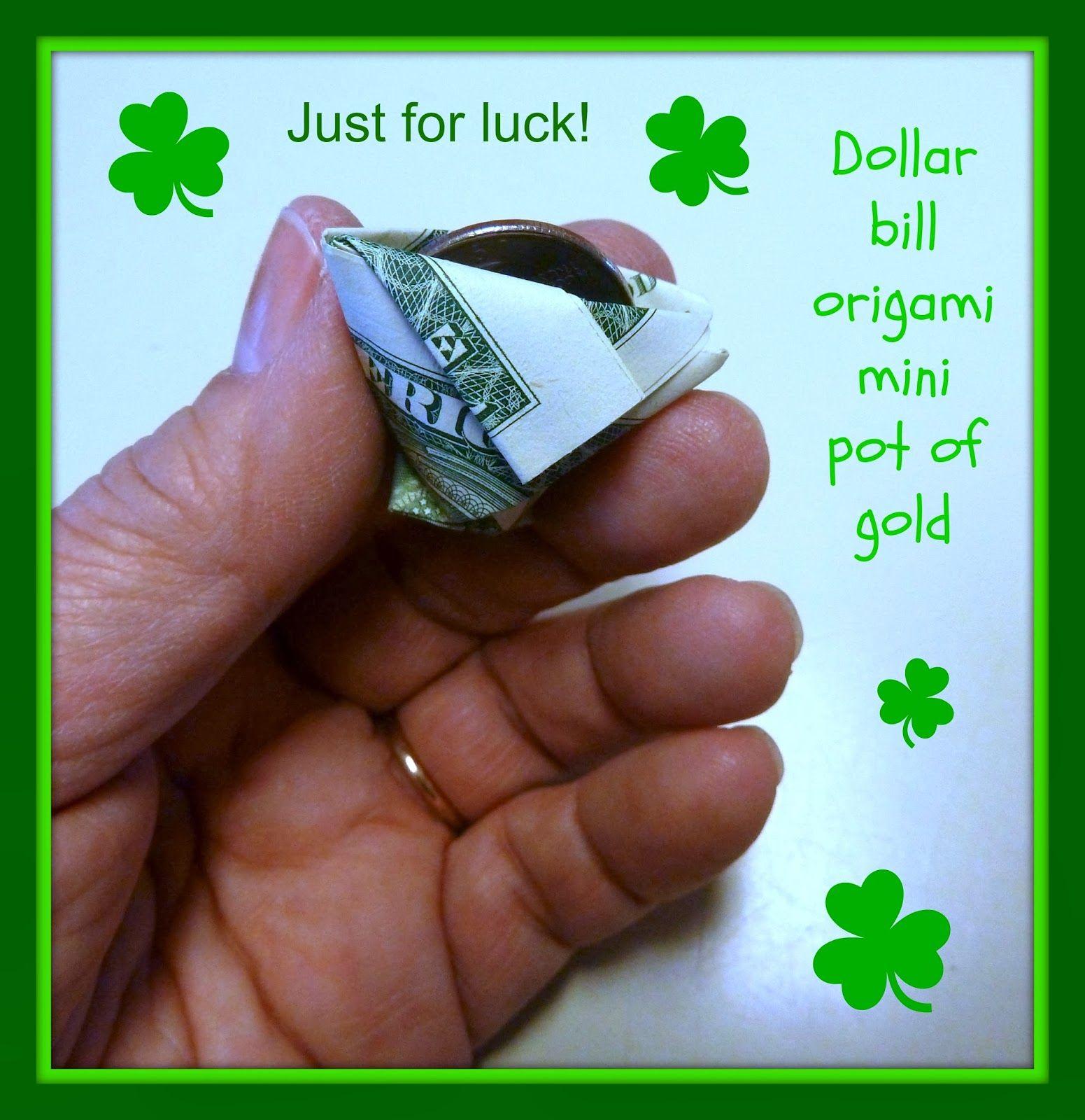 Make it easy crafts dollar bill origami mini pot of gold misc make it easy crafts dollar bill origami mini pot of gold jeuxipadfo Image collections