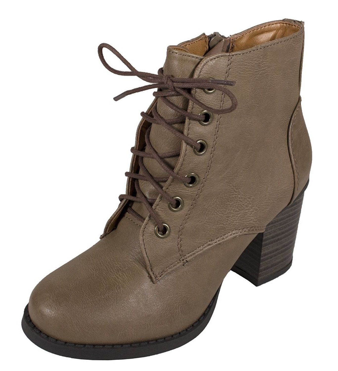 KORMAN! Women's Cute Classic Lace Up Chunky Heeled Ankle Bootie